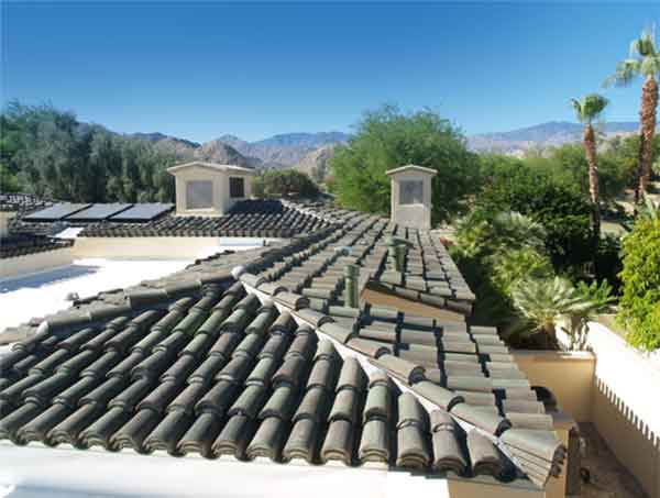 Spanish roof tiles in gray color.