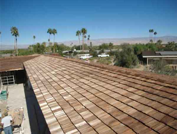 Wood shingles on roof.