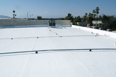 Flat membrane roofing.