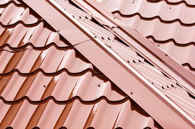 Metal roof tiles.